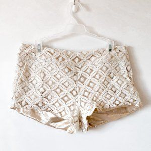 Point White Cream Lace Shorts